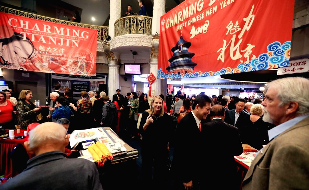 """LOS ANGELES, Feb. 11, 2018 - People attend the """"Happy Chinese New Year Charming Beijing Tianjin Hebei"""" performance at the Saban Theater in Beverly Hills, Los Angeles, the United States, on ..."""