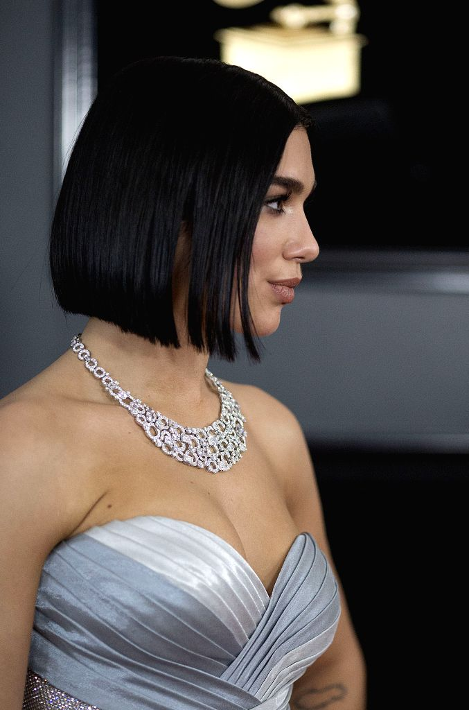 LOS ANGELES, Feb. 12, 2019 - Dua Lipa arrives for the 61st Annual Grammy Awards held in Los Angeles, the United States, Feb. 10, 2019.