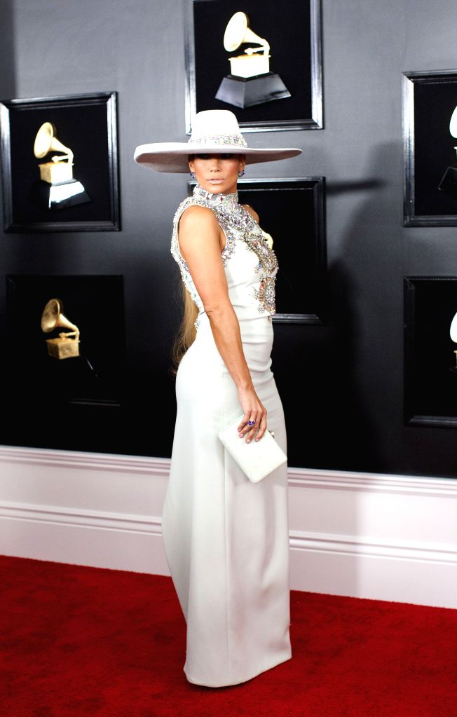 LOS ANGELES, Feb. 12, 2019 - Jennifer Lopez arrives for the 61st Annual Grammy Awards held in Los Angeles, the United States, Feb. 10, 2019.