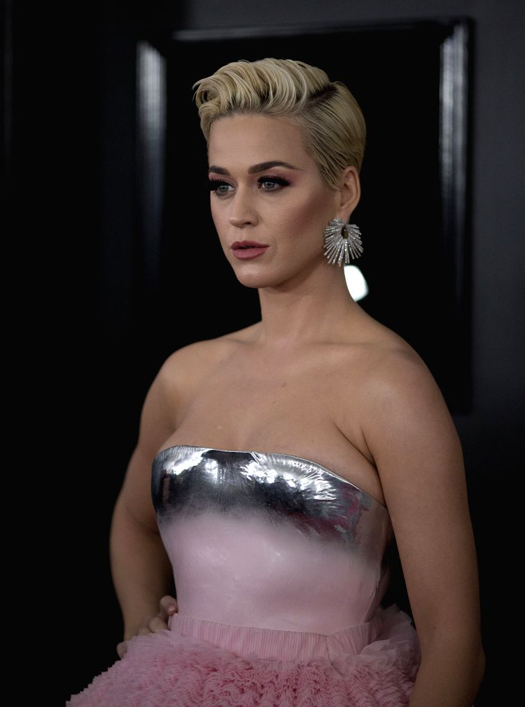 LOS ANGELES, Feb. 12, 2019 - Katy Perry arrives for the 61st Annual Grammy Awards held in Los Angeles, the United States, Feb. 10, 2019.