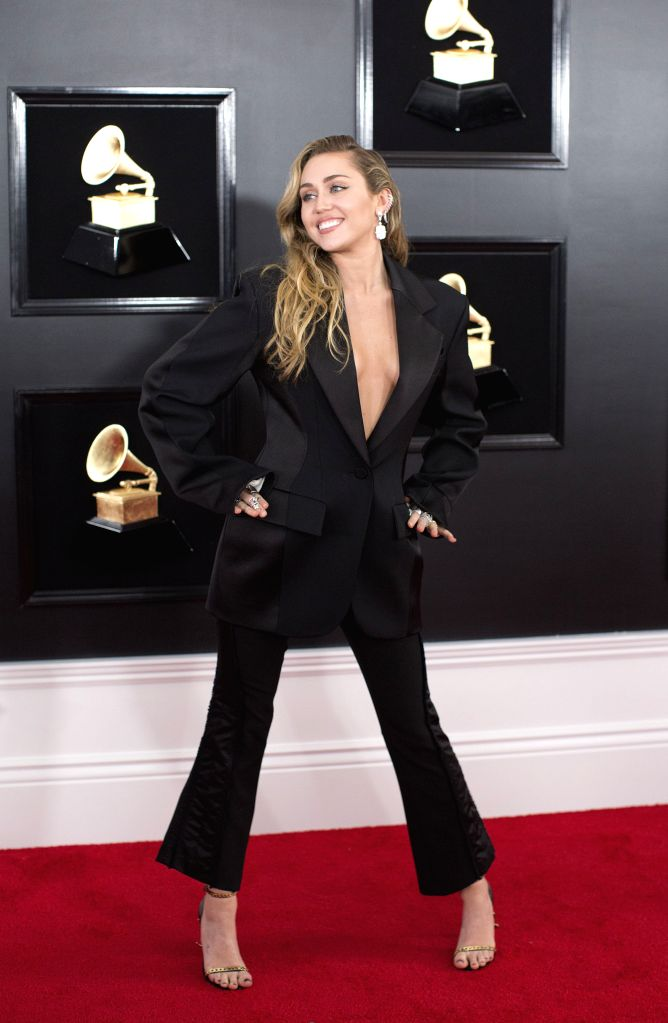LOS ANGELES, Feb. 12, 2019 - Miley Cyrus arrives for the 61st Annual Grammy Awards held in Los Angeles, the United States, Feb. 10, 2019.