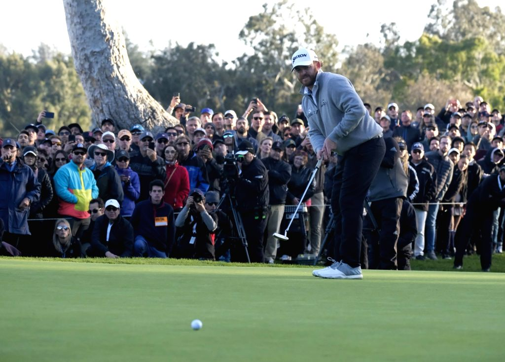 LOS ANGELES, Feb. 18, 2019 - J.B. Holmes of the United States competes during the final round of the PGA Tour Genesis Open golf tournament in Los Angeles, the United States, Feb. 17, 2019. Holmes won ...