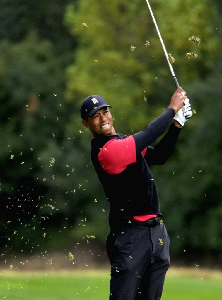 LOS ANGELES, Feb. 18, 2019 - Tiger Woods of the United States competes during the final round of the PGA Tour Genesis Open golf tournament in Los Angeles, the United States, Feb. 17, 2019. Holmes won ...