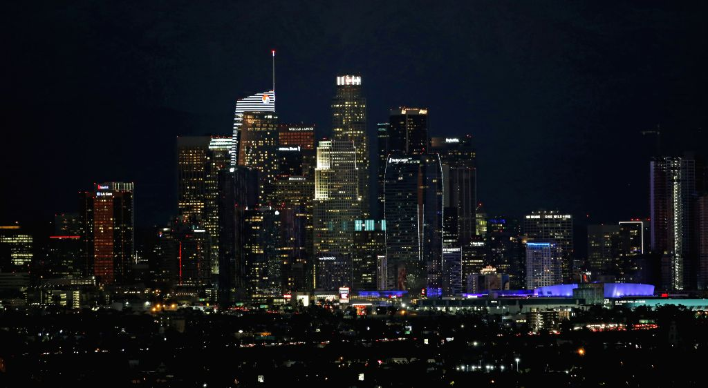 LOS ANGELES, Feb. 19, 2019 - Photo taken on Feb. 18, 2019 shows a view of downtown Los Angeles when ornamental lights have lit up in Los Angeles, the United States.