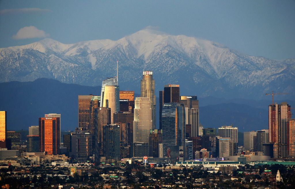 LOS ANGELES, Feb. 19, 2019 - Photo taken on Feb. 18, 2019 shows a view of downtown Los Angeles in California, the United States.