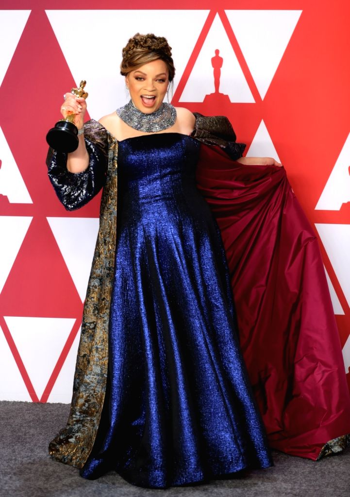 "LOS ANGELES, Feb. 25, 2019 - Ruth E. Carter, winner of the Best Costume Design award for ""Black Panther"", poses in the press room during the 91st Academy Awards ceremony, or the Oscars, ..."