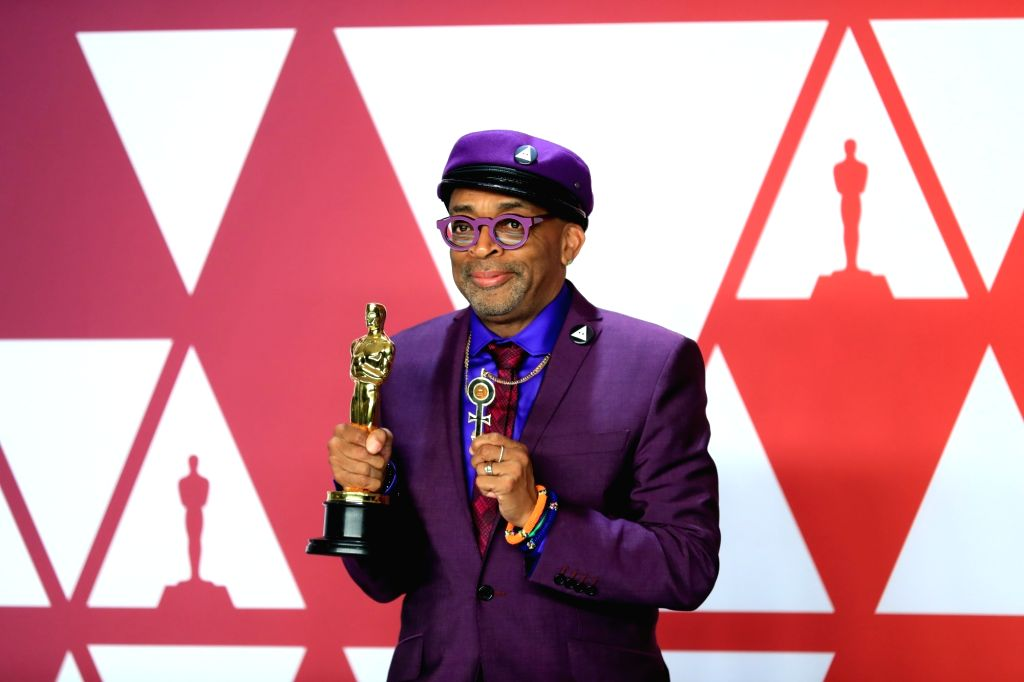 "LOS ANGELES, Feb. 25, 2019 - Spike Lee, winner of the Best Adapted Screenplay award for ""BlacKkKlansman"", poses in the press room during the 91st Academy Awards at the Dolby Theater in Los ..."