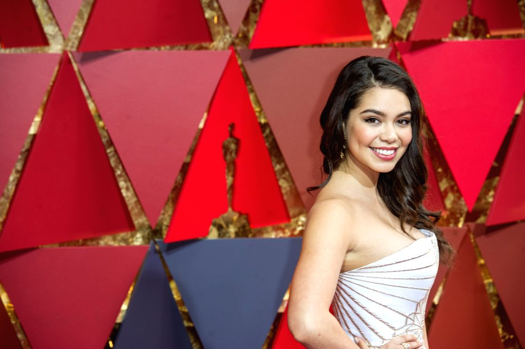 LOS ANGELES, Feb. 27, 2017 - Actress Auli'i Cravalho arrives for the red carpet of the 89th Academy Awards at the Dolby Theater in Los Angeles, the United States, on Feb. 26, 2017. - Auli