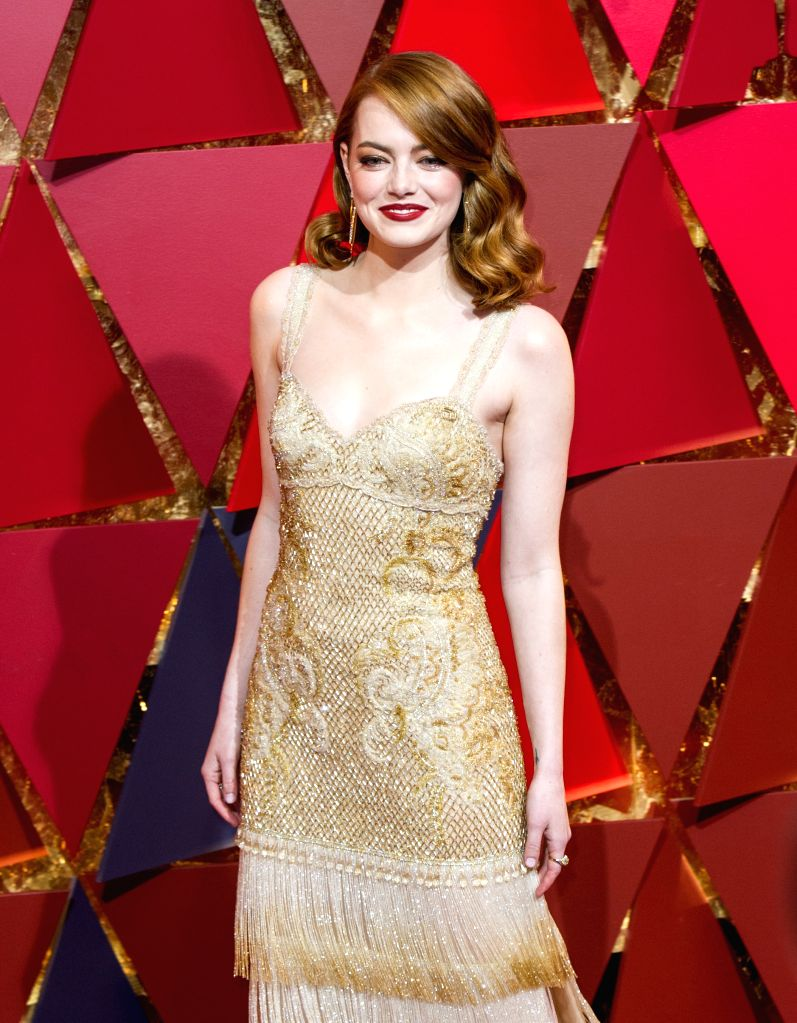 LOS ANGELES, Feb. 27, 2017 - Actress Emma Stone arrives for the red carpet of the 89th Academy Awards at the Dolby Theater in Los Angeles, the United States, on Feb. 26, 2017. - Emma Stone