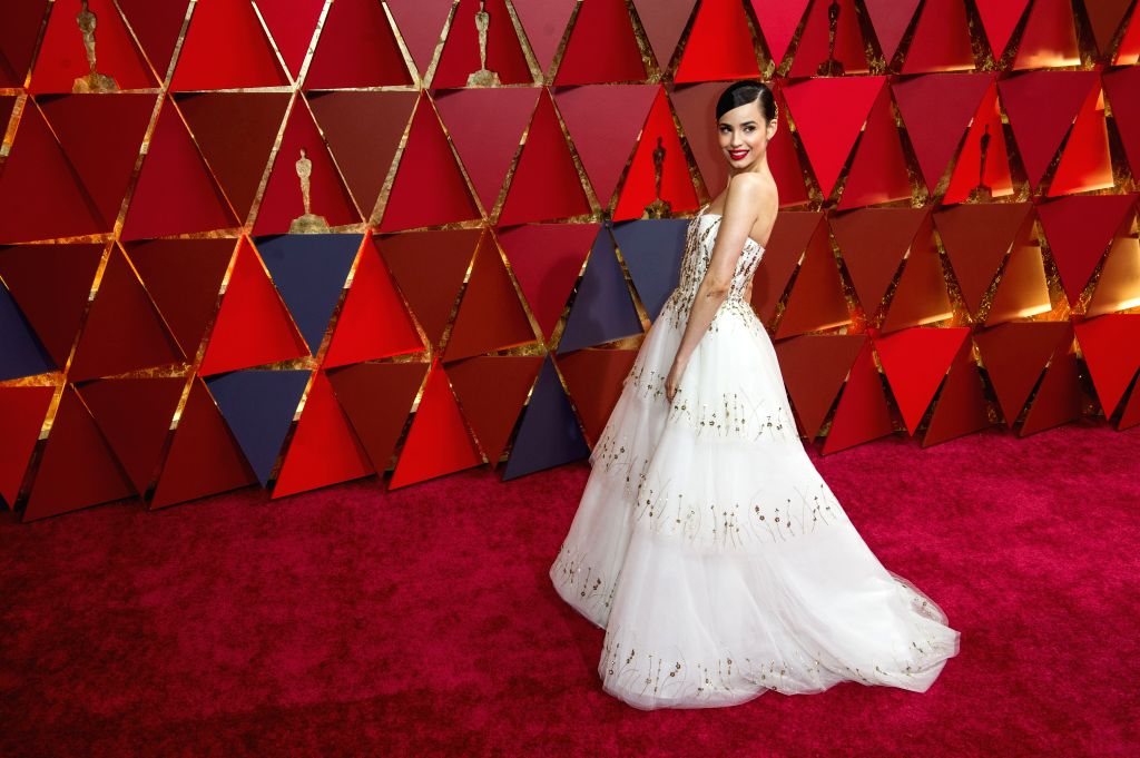 LOS ANGELES, Feb. 27, 2017 - Actress Sofia Carson arrives for the red carpet of the 89th Academy Awards at the Dolby Theater in Los Angeles, the United States, on Feb. 26, 2017. (Xinhua/Yang Lei) - Sofia Carson