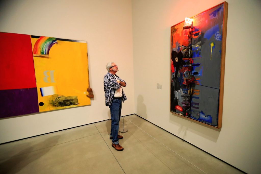 "LOS ANGELES, Feb. 8, 2018 - A man visits the preview of an exhibition entitled ""Something Resembling Truth"" showcasing Jasper Johns' art works in Los Angeles, the United States, Feb. 7, ..."