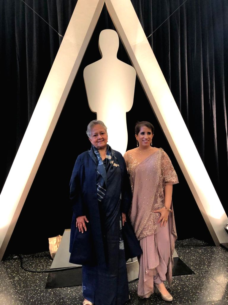 "Los Angeles: Indian film producer Guneet Monga, whose ""Period. End of Sentence"" won Oscar in Documentary Short Subject category, with Action India Chairperson Gauri Choudhary during the ... - Gauri Choudhary"