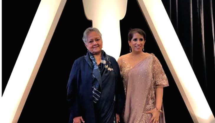 "Los Angeles: Indian film producer Guneet Monga, whose ""Period. End of Sentence"" won Oscar in Documentary Short Subject category, during the 91st Academy Awards at the Dolby Theater in Los ..."