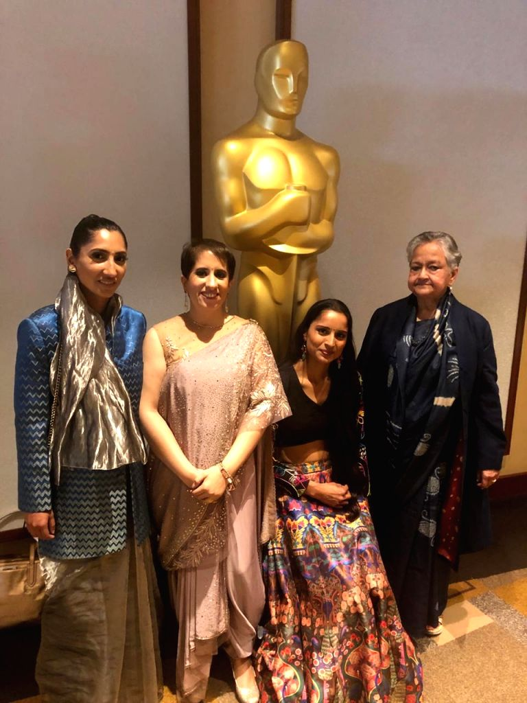 """Los Angeles: Indian film producer Guneet Monga, whose """"Period. End of Sentence"""" won Oscar in Documentary Short Subject category, during the 91st Academy Awards at the Dolby Theater in Los Angeles, the United States, on Feb. 24, 2019. (Photo: IANS)"""