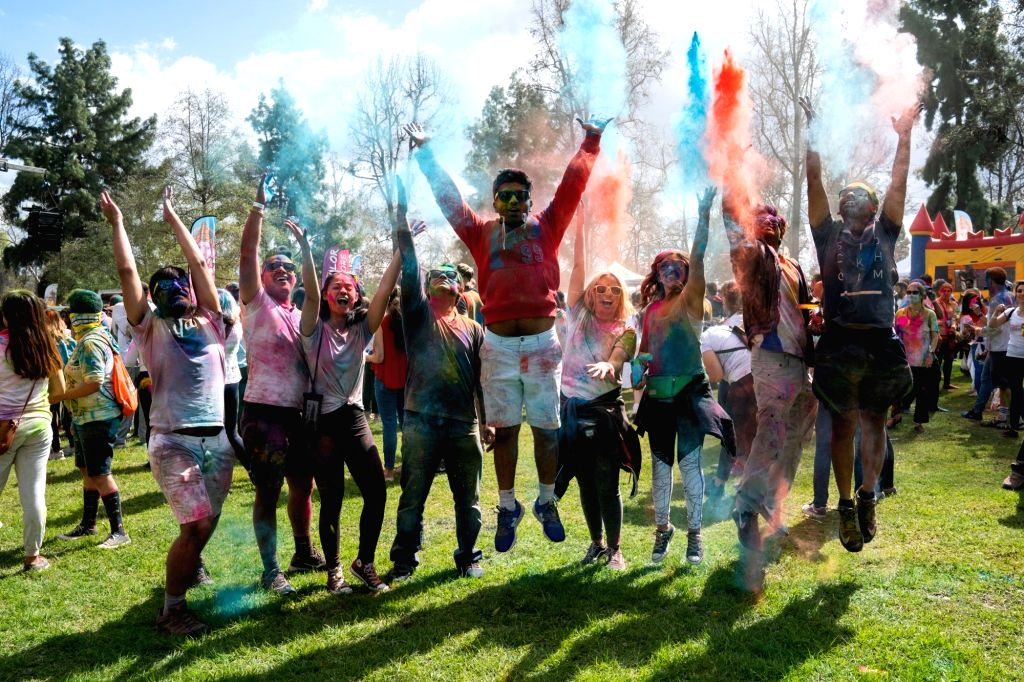 LOS ANGELES, March 10, 2019 - People celebrate the Holi Festival in Los Angeles, the United States, March 9, 2019. The Hindu festival of Holi, or the Festival of Colors, heralds the arrival of spring ...