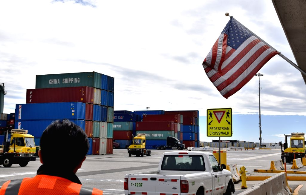 LOS ANGELES, March 6, 2019 - Containers of China COSCO Shipping Corporation Limited are seen at the Port of Long Beach, Los Angeles County, the United States, on Feb. 27, 2019. The Port of Long ... - Mario Cordero