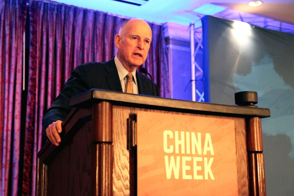 LOS ANGELES, May 10, 2017 - California Governor Jerry Brown speaks at the opening ceremony of the 2nd California-China Business Summit in Los Angeles, California, the United States, May 9, 2017. ...