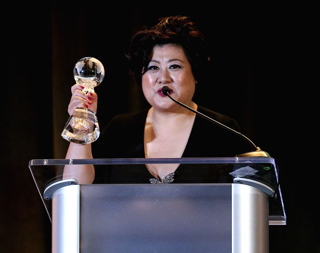 """LOS ANGELES, Nov. 10, 2019 - Iris Wang, producer of """"The Composer"""" and general manager of Shinework Pictures, speaks at the awards ceremony of the 2019 Golden Screen Awards after the film ..."""