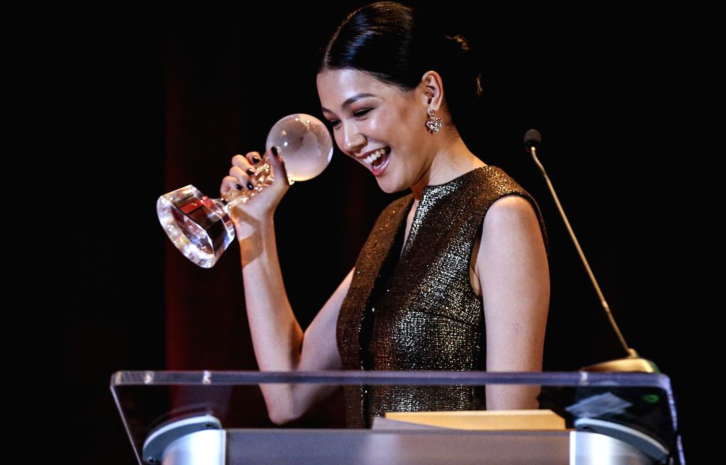 LOS ANGELES, Nov. 10, 2019 - Kazakh actress Aruzhan Jazilbekova reacts after she was awarded the Best ing Actress at the awards ceremony of the 2019 Golden Screen Awards in Los Angeles, the ... - Aruzhan Jazilbekova