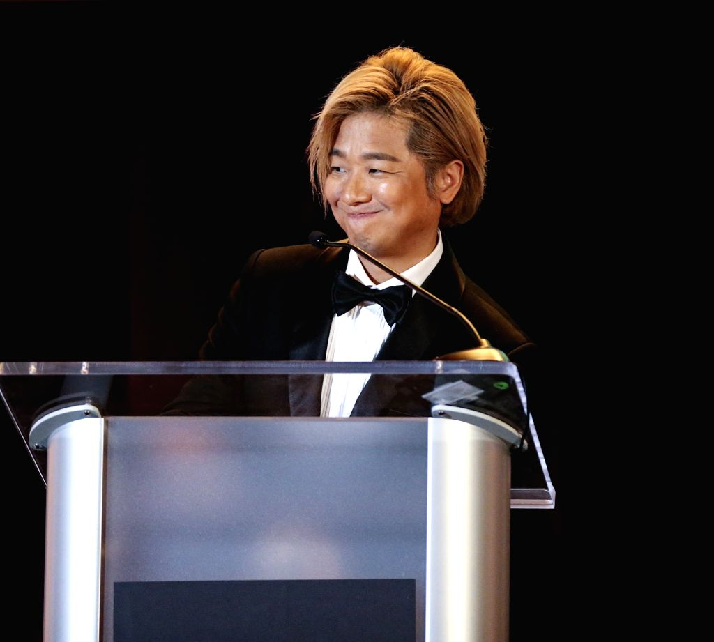 """LOS ANGELES, Nov. 10, 2019 - Lee Dong-joon, composer of the film """"The Composer"""", reacts at the awards ceremony of the 2019 Golden Screen Awards in Los Angeles, the United States, on Nov. 9, ..."""