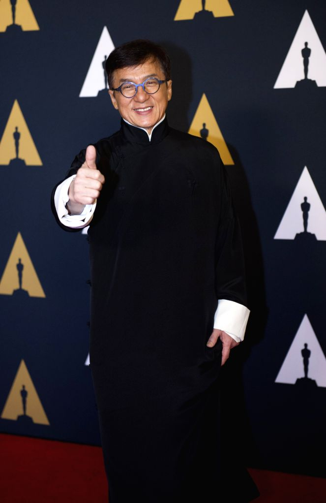 LOS ANGELES, Nov. 13, 2016 - Jackie Chan poses with his thumbs up as he attends the eighth annual Governors Awards ceremony in Hollywood, California, the United States, on Nov. 12, 2016. Chinese ... - Jackie Chan