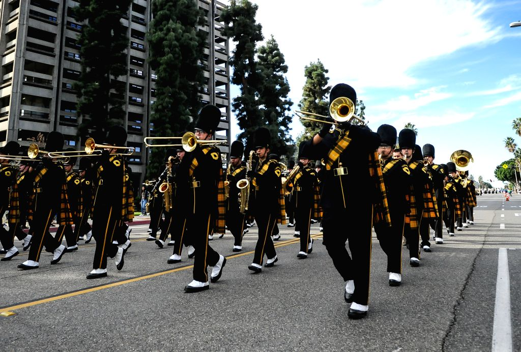 LOS ANGELES, Nov. 20, 2016 - A brass band from a high school of southern California attends the 63rd Festival of Bands Parade on the Baldwin Avenue in Arcadia, Los Angeles, the United States, on Nov. ...