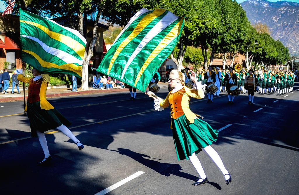 LOS ANGELES, Nov. 20, 2016 - Members of a brass band from a high school of southern California perform during the 63rd Festival of Bands Parade on the Baldwin Avenue in Arcadia, Los Angeles, the ...