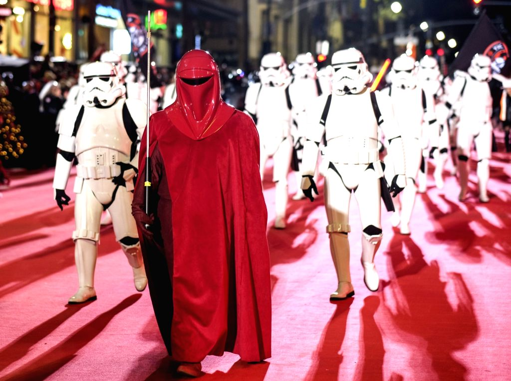 LOS ANGELES, Nov. 28, 2016 - People dressed up as characters of Star Wars participate in the 85th annual Hollywood Christmas Parade in Los Angeles, the United States, Nov. 27, 2016.