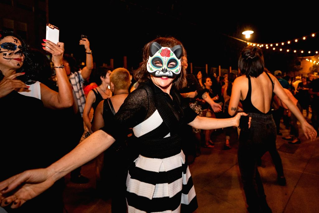 LOS ANGELES, Nov. 3, 2018 - People dance to celebrate the Day of the Dead Festival in Los Angeles, the United States, on Nov. 2, 2018.