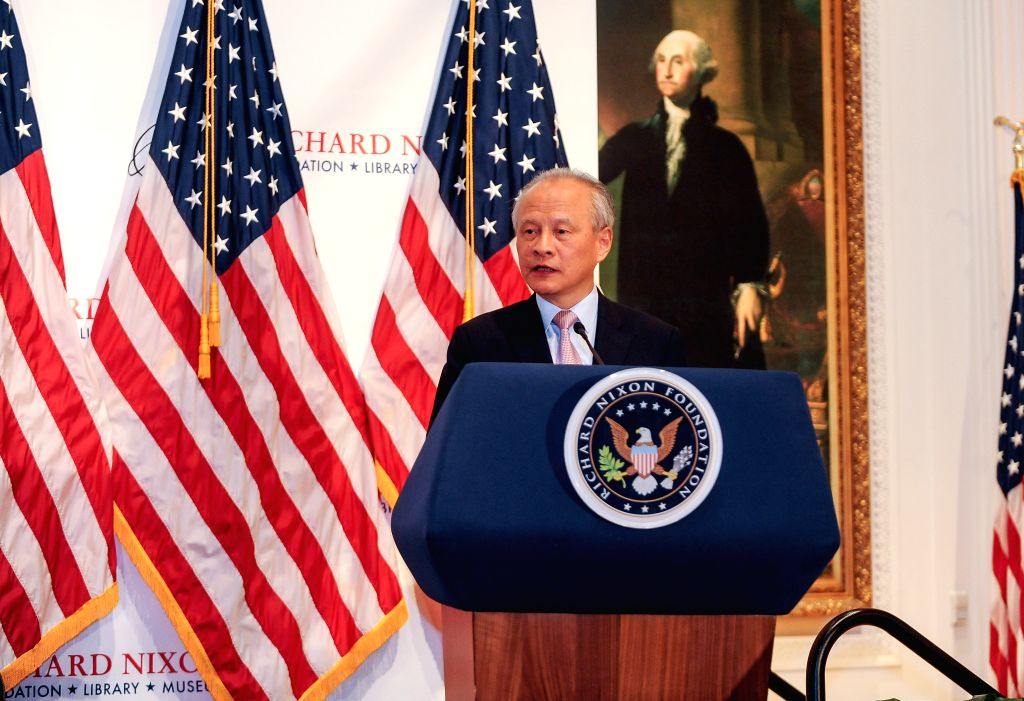LOS ANGELES, Oct. 15, 2016 - Cui Tiankai, Chinese Ambassador to the United States speaks during the reopening ceremony of Nixon Library and Museum in Yorba Linda, Southern California, United Nations, ...