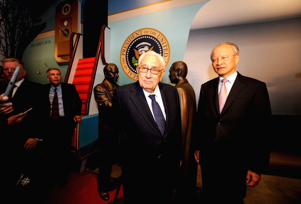 LOS ANGELES, Oct. 15, 2016 - Cui Tiankai, Chinese Ambassador to the United States(R) and Henry Kissinger, fomer U.S. Secretary of State visit the newly-built Chinese pavilion of Nixon Library and ...