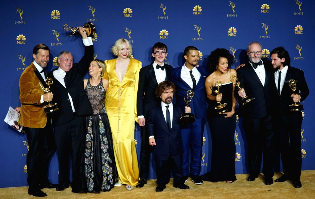 """LOS ANGELES, Sept. 18, 2018 - Cast members of """"Game of Thrones"""" pose for a photo after winning the award of outstanding drama series during the 70th Primetime Emmy Awards in Los Angeles, ..."""