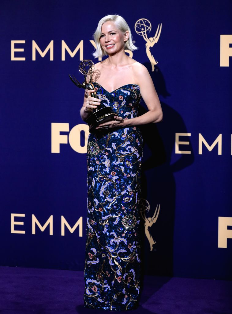 """LOS ANGELES, Sept. 23, 2019 - Actress Michelle Williams poses with the award for outstanding lead actress in a limited series or movie for """"Fosse/Verdon"""" during the 71st Primetime Emmy ... - Michelle Williams"""