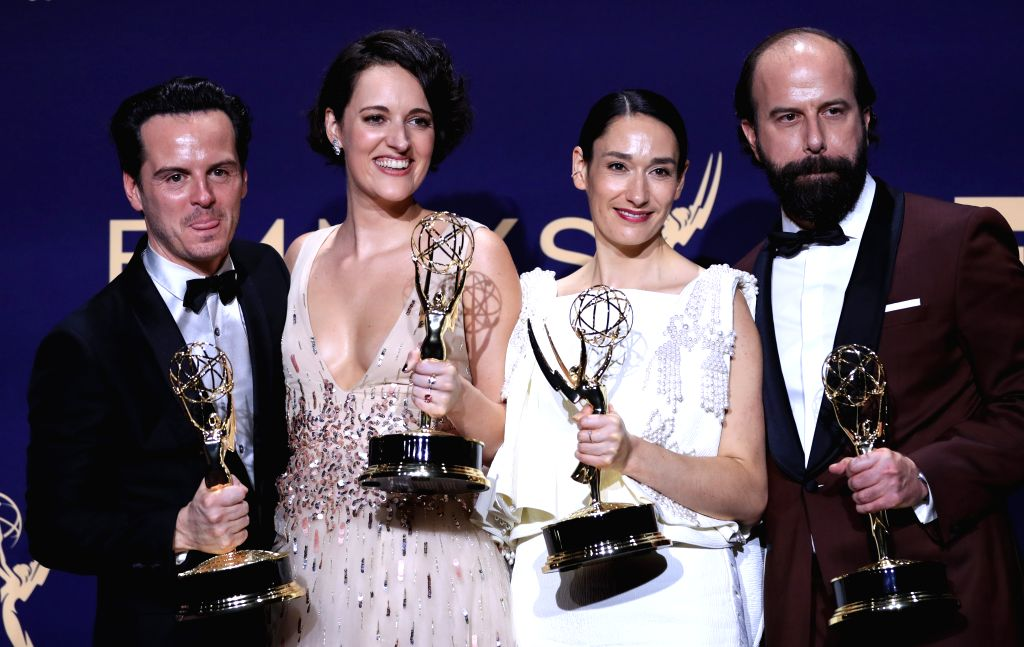 """LOS ANGELES, Sept. 23, 2019 - Cast members of """"Fleabag"""" pose with the award for outstanding comedy series during the 71st Primetime Emmy Awards in Los Angeles, the United States, Sept. 22, ..."""