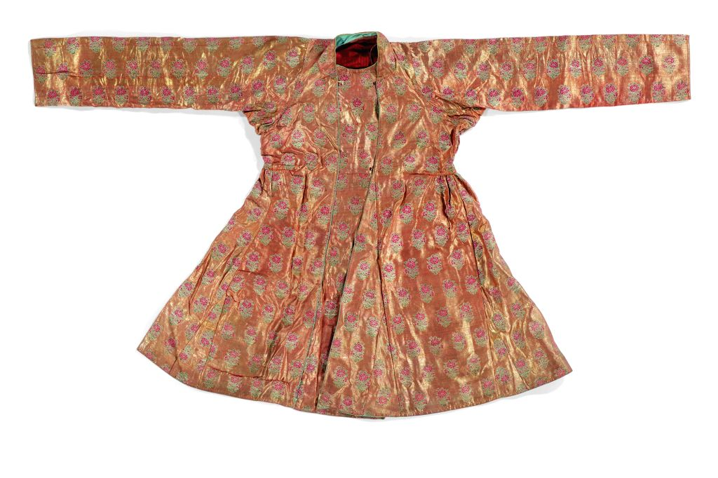 Lot 153 Two Mughal Brocade Jama, North India, probably 18th century, est. £3,000-5,000.