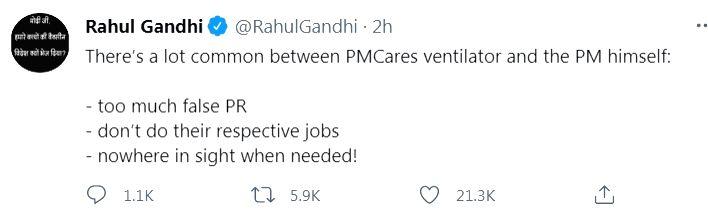 Lot common in PM and PM CARES ventilators: Rahul Gandhi. - Rahul Gandhi