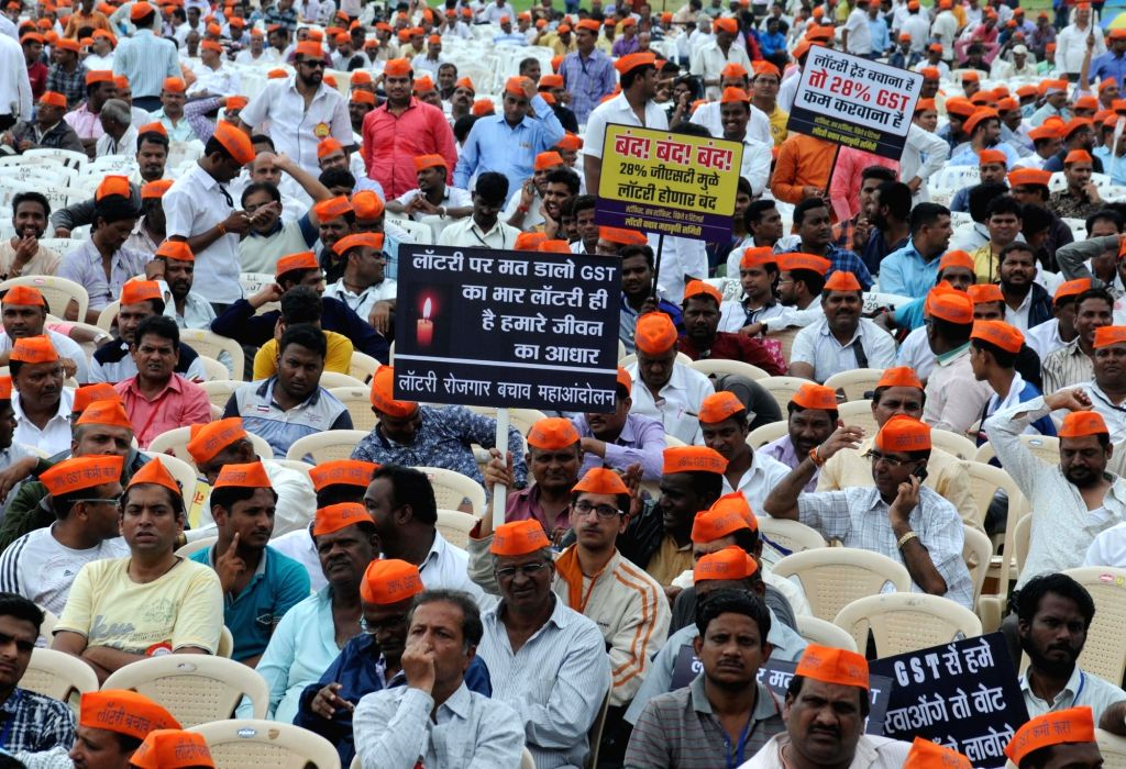 Lottery sellers stage a demonstration against GST on lottery during  'Save Lottery Employment Mega Movement' in Mumbai on Aug 21, 2017.