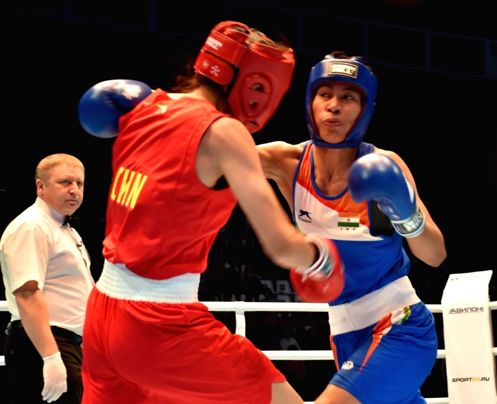 Lovlina Borgohain in action in her semi final.