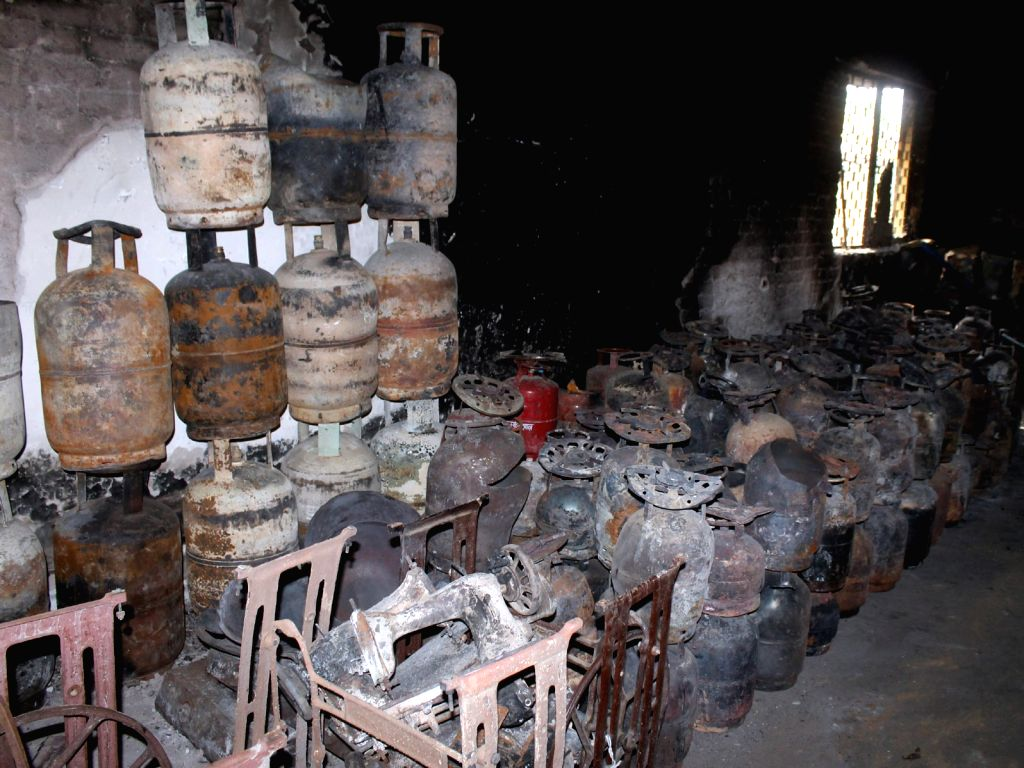 LPG cylinders that were stored at Jawaharbagh of Mathura on June 5, 2016.