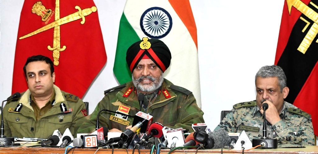 Lt Gen K.J.S. Dhillon, Corps Commander of the Srinagar-headquartered 15 Corps along with IGP Kashmir SP Pani and CRPF IG Zulfiquar Hasan addresses a joint press conference in Srinagar, on ...