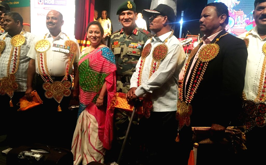 Lt. Gen. S. K. Prashar, GOC-in-C, Maharashtra, Gujarat & Goa with the disabled Indian Army soldiers who were felicitated on the 71st Republic Day in Mumbai on Jan 26, 2020. 15 disabled ...
