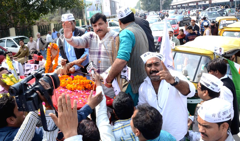Aam Aadmi Party leader Sanjay Singh during a roadshow in Lucknow, on March 3, 2015. - Sanjay Singh