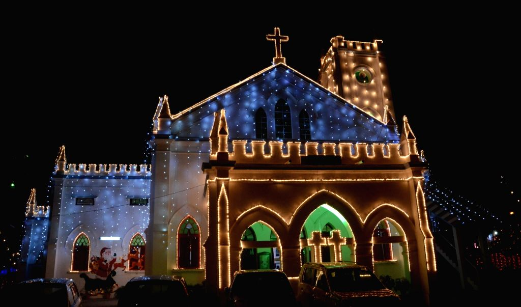 Lucknow: Central Methodist Church decked-up on Christmas eve in Lucknow, on Dec 24, 2015. (Photo: IANS)