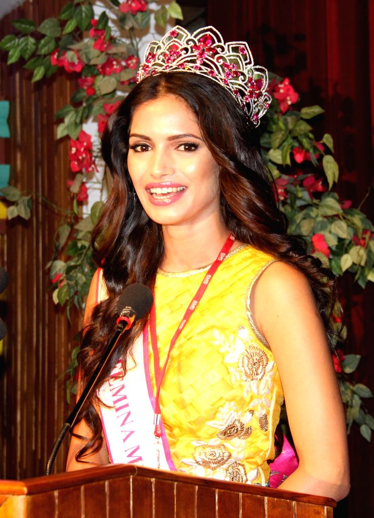 Femina Miss India 2015 second runner-up Vartika Singh addresses during a programme in Lucknow, on April 8, 2015.
