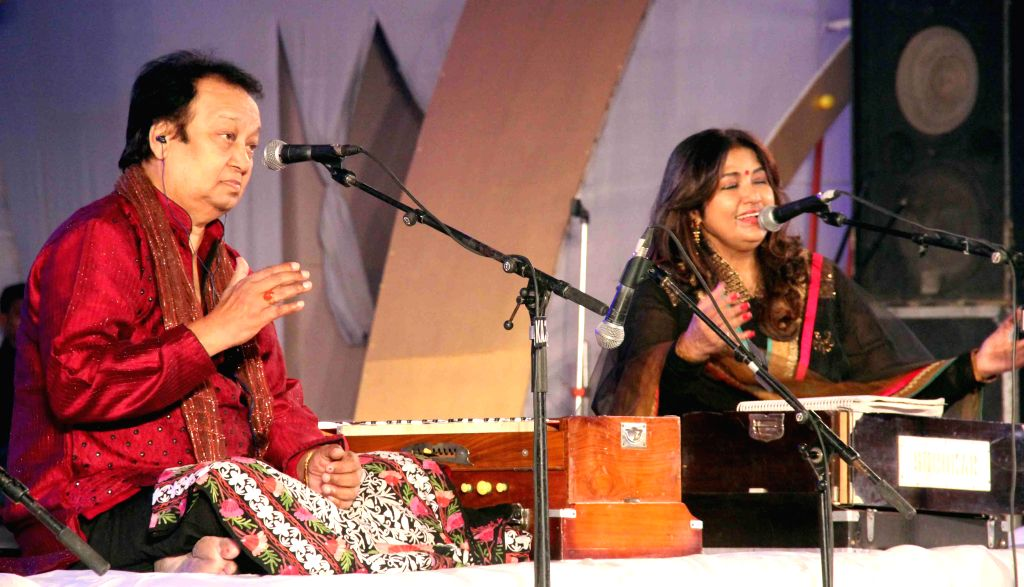 Ghazal singers Bhupinder and Mitali perform during Lucknow Mahotsav in Lucknow on Nov 28, 2014.