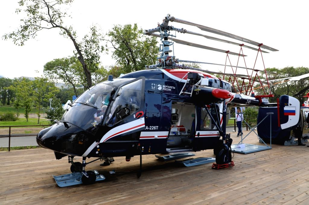 Lucknow: Ka-226T, one of the helicopters showcased by Russia's Rostec State Corporation's holding firm at the biennial 11th edition of Defexpo 2020 for hard -selling them to Indian customers, in Lucknow on Feb 5, 2020. (Photo: IANS)