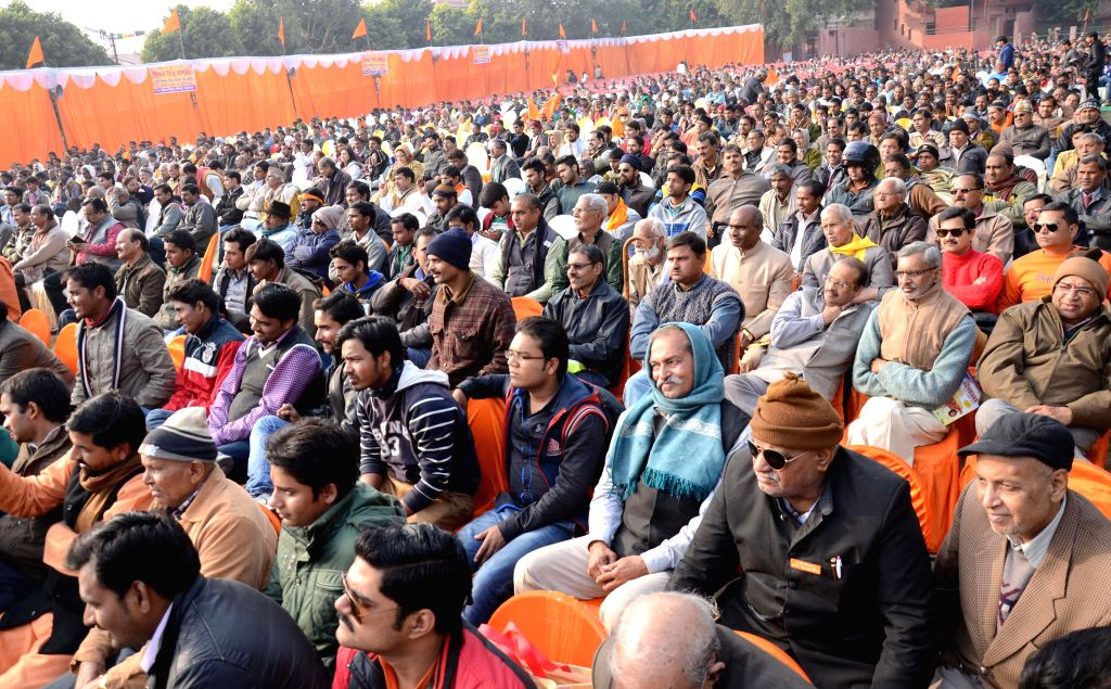 People in large numbers arrive to attend `Virat Hindu Sammelan` in Lucknow, on Jan 18, 2015.