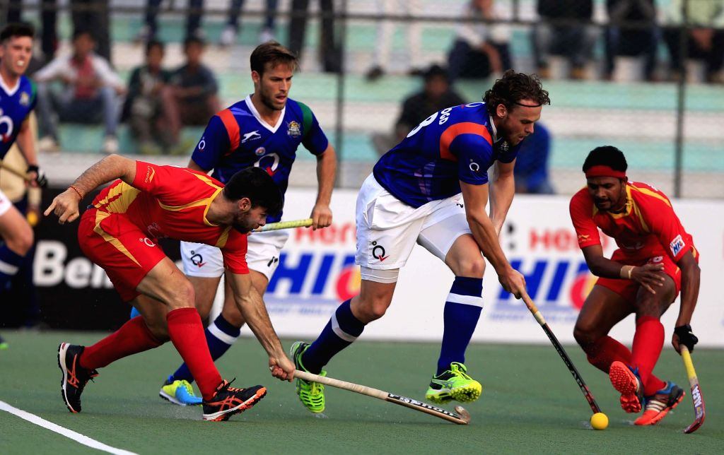 Players in action during a Hero Hockey India League 2015 match between Ranchi Rays and Uttar Pradesh Wizards at Major Dhyan Chand Stadium in Lucknow,  on Feb. 3, 2015. Ranchi Rays win 2-0.
