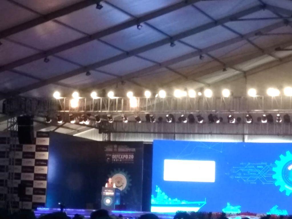 Lucknow: Prime Minister Narendra Modi addresses at Defexpo 2020, in Lucknow on Feb 5, 2020. (Photo: IANS) - Narendra Modi