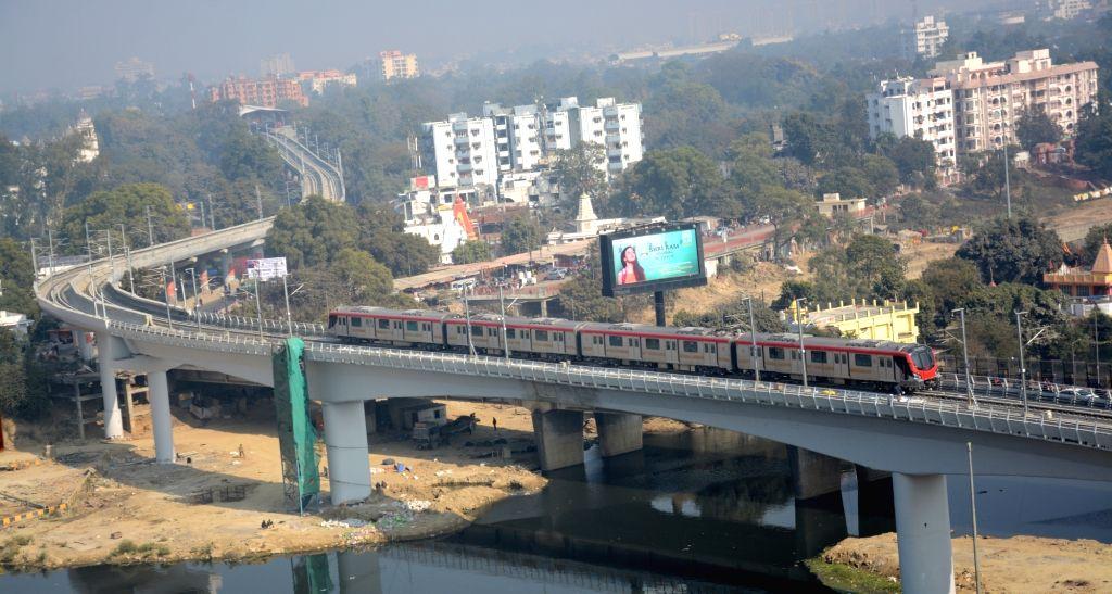 Lucknow: Trial runs of Lucknow metro underway on Dec 28, 2018. (Photo: IANS)